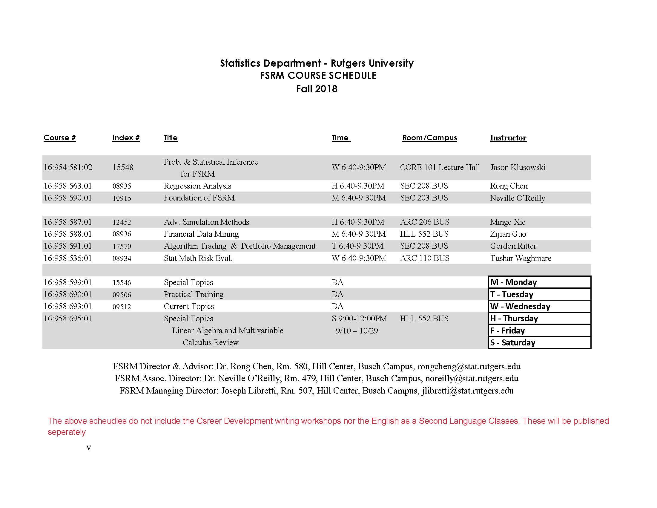 2018 fsrm fall schedule